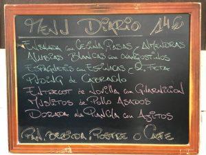 Menú del día restaurante El Pícaro Santander
