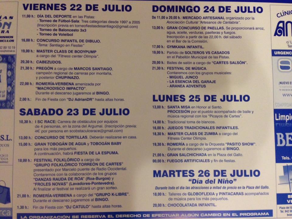 Fiestas de santiago en santiago de cartes 2016 miplanhoy for Concierto hoy en santiago