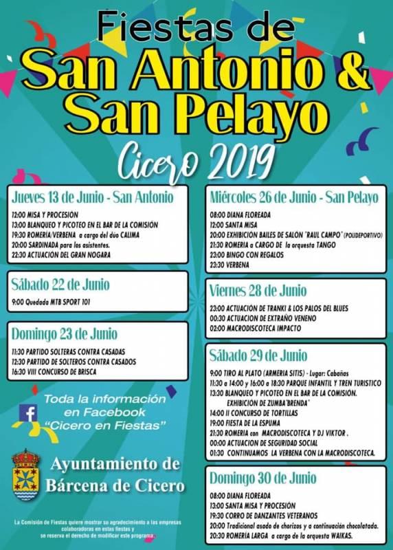 Fiestas de San Antonio y San Pelayo en Cicero 2019