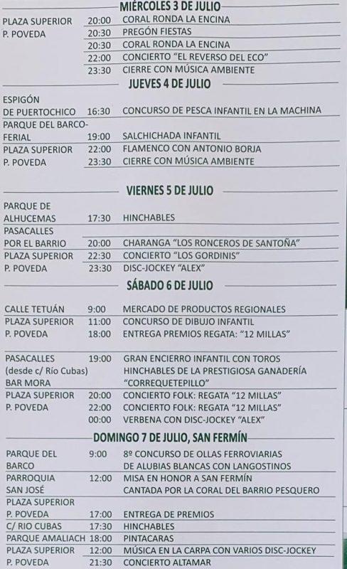 Programa Fiestas de San Fermín en Tetuán 2019