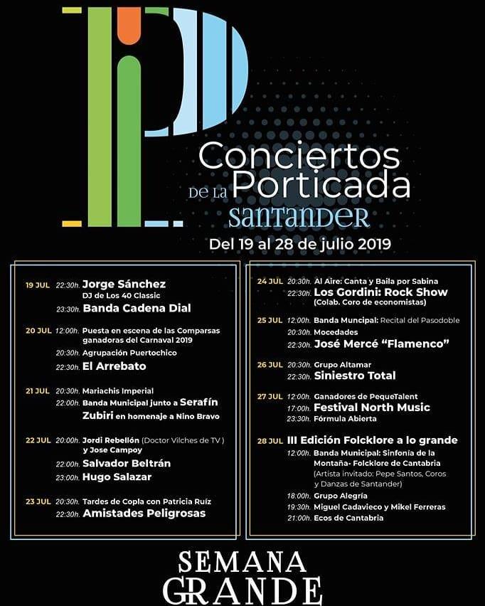 Conciertos de la Porticada en Santander 2019