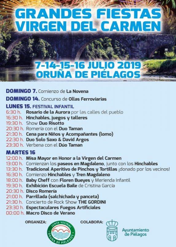 Fiestas Virgen del Carmen en Oruña de Pilélagos 2019