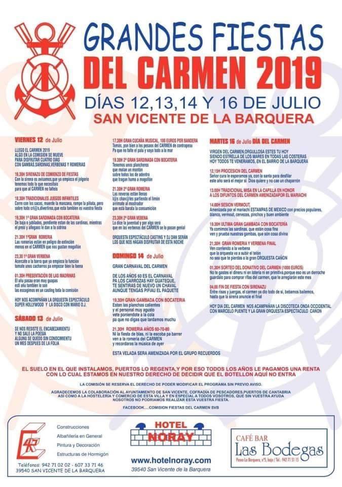 Fiestas del Carmen en San Vicente de la Barquera 2019