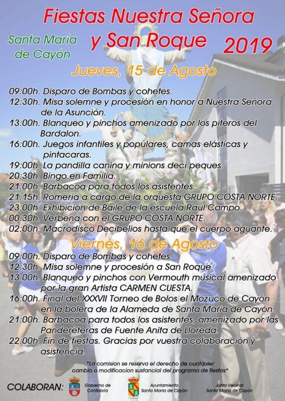 Fiestas de Nuestra Señora y San Roque en Santa María de Cayón 2019