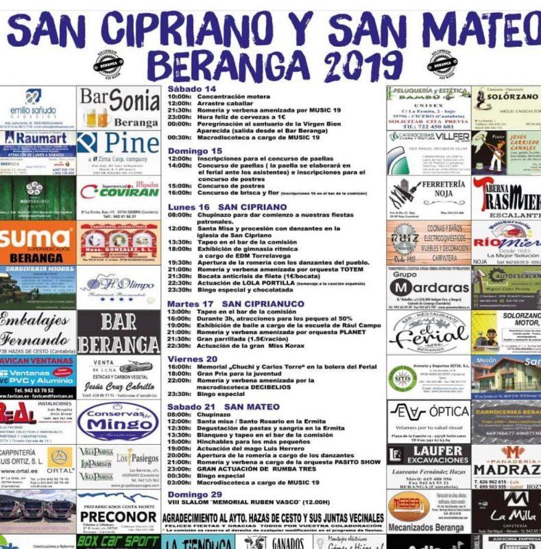 Fiestas de San Cipriano y San Mateo en Beranga 2019