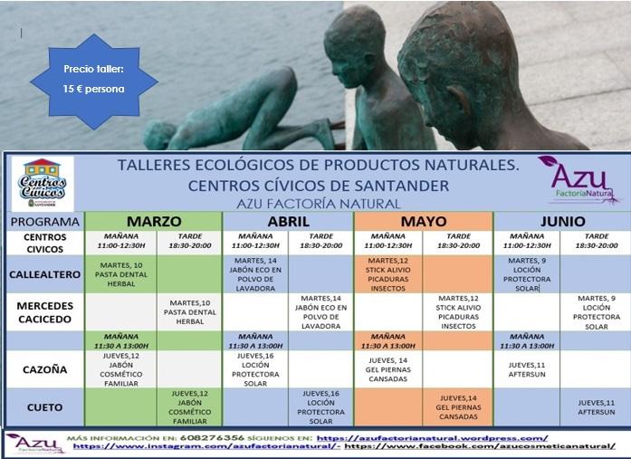 TALLERES DE PRODUCTOS ECOLÓGICOS EN LOS CENTROS CÍVICOS DE SANTANDER